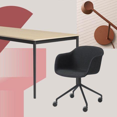 Muuto Schreibtisch, Lampe und Stuhl